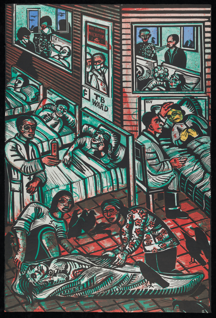 7. Eric Avery, Emerging Infectious Diseases (2000), linoleum block print over lithograph.jpg