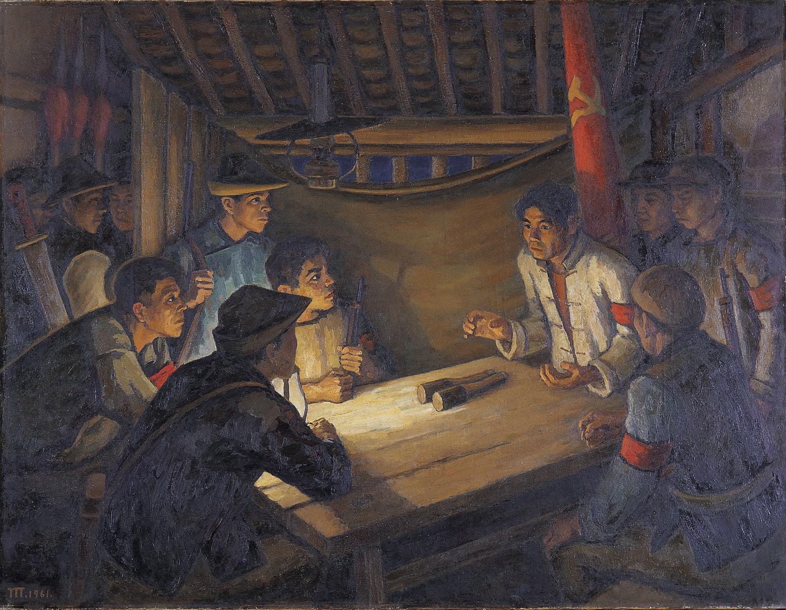28 《前夜》,胡一川,1961年,广州,布面油画,140cm×181.5cm中国美术馆藏.jpg