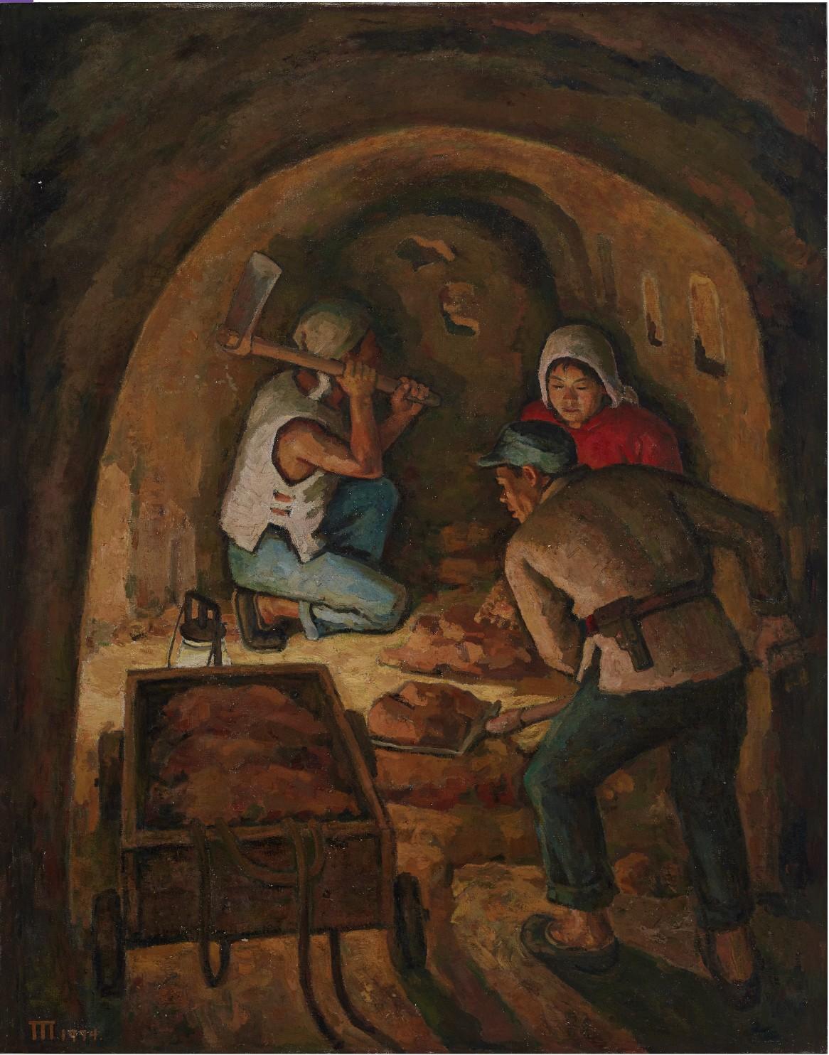29《挖地道》,胡一川,1974年,广州,布面油画,146cm×112cm,广州美术学院美术馆藏.jpg